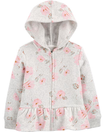 Peplum Hem Floral Fleece Hoodie