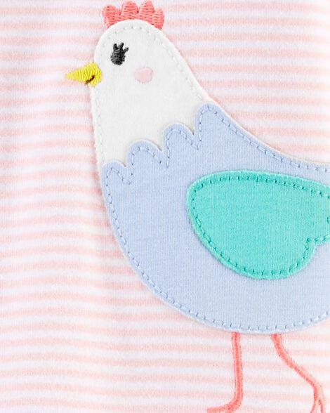 Pyjama 1 pièce avec pieds en coton ajusté à poulet