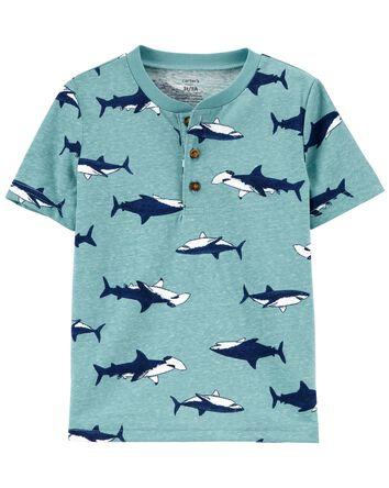 T-shirt henley à imprimé de requin