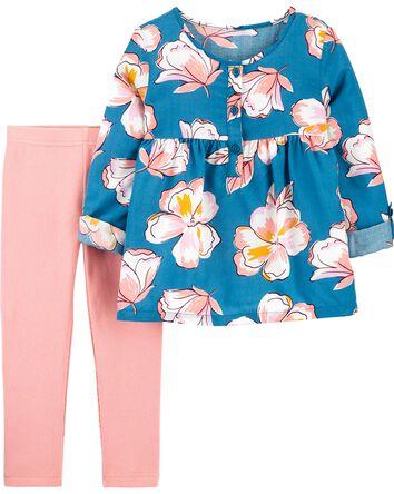 2-Piece Floral Poplin Top & Legging...