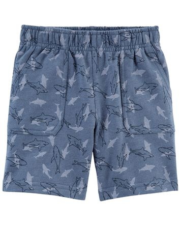 Shark Print French Terry Shorts