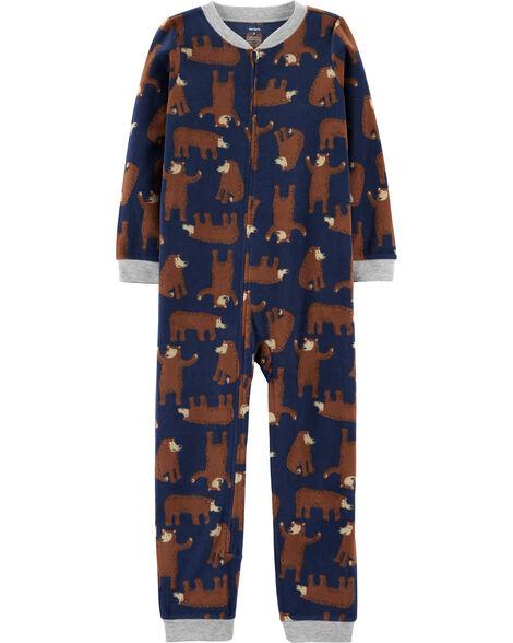 Pyjama 1 pièce sans pieds en molleton ours