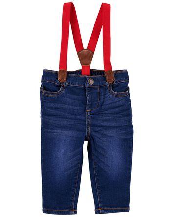 Jeans en tricot de denim à bretelle...