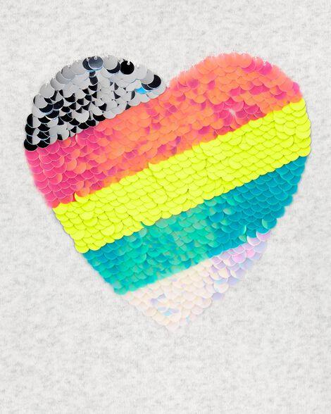 Chandail à cœur rayé en paillettes réversibles