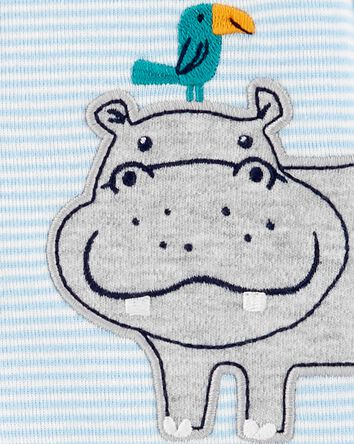 Grenouillère en coton rayé avec bou...
