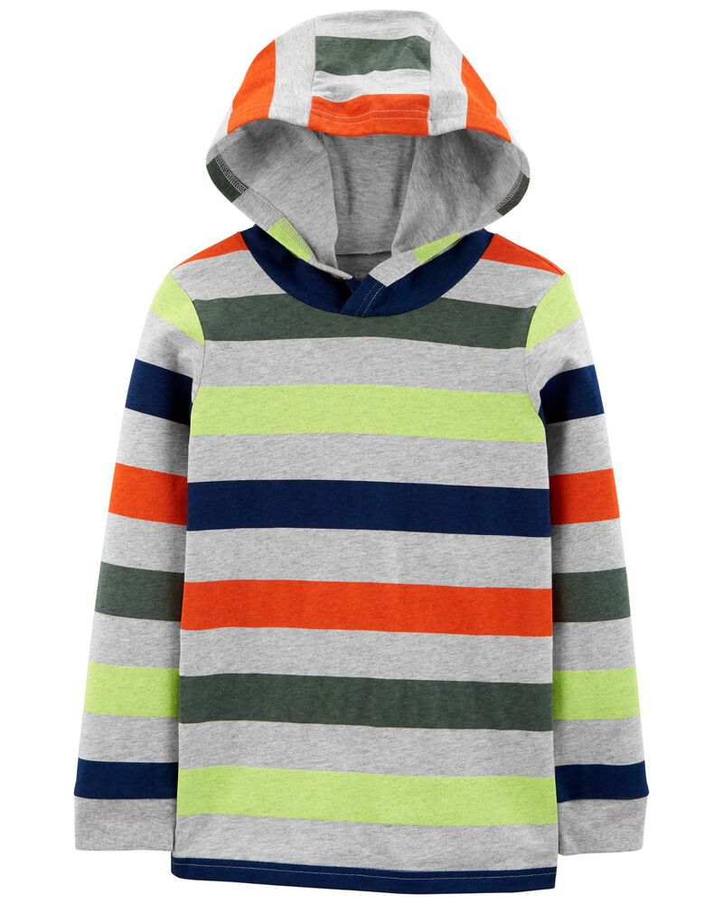 Striped Jersey Hooded Tee, , hi-res