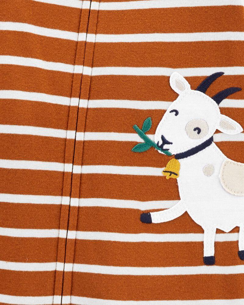 Pyjama 1 pièce sans pieds en coton ajusté à chèvre, , hi-res