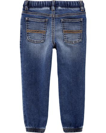 Pull-On Knit Denim Pants
