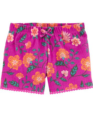 Floral Crinkle Jersey Shorts