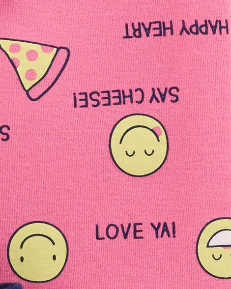 4-Piece Emoji Snug Fit Cotton PJs