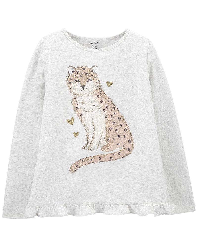 T-shirt en jersey motif léopard, , hi-res