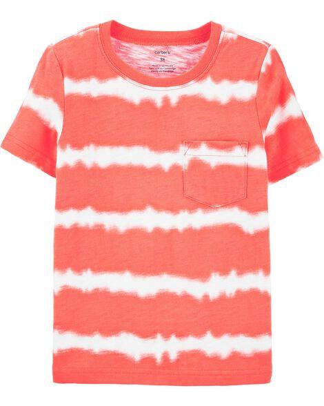 T-shirt à poche en jersey flammé teint par nœud