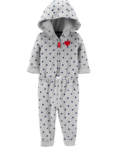 Hooded Polka Dot Jumpsuit