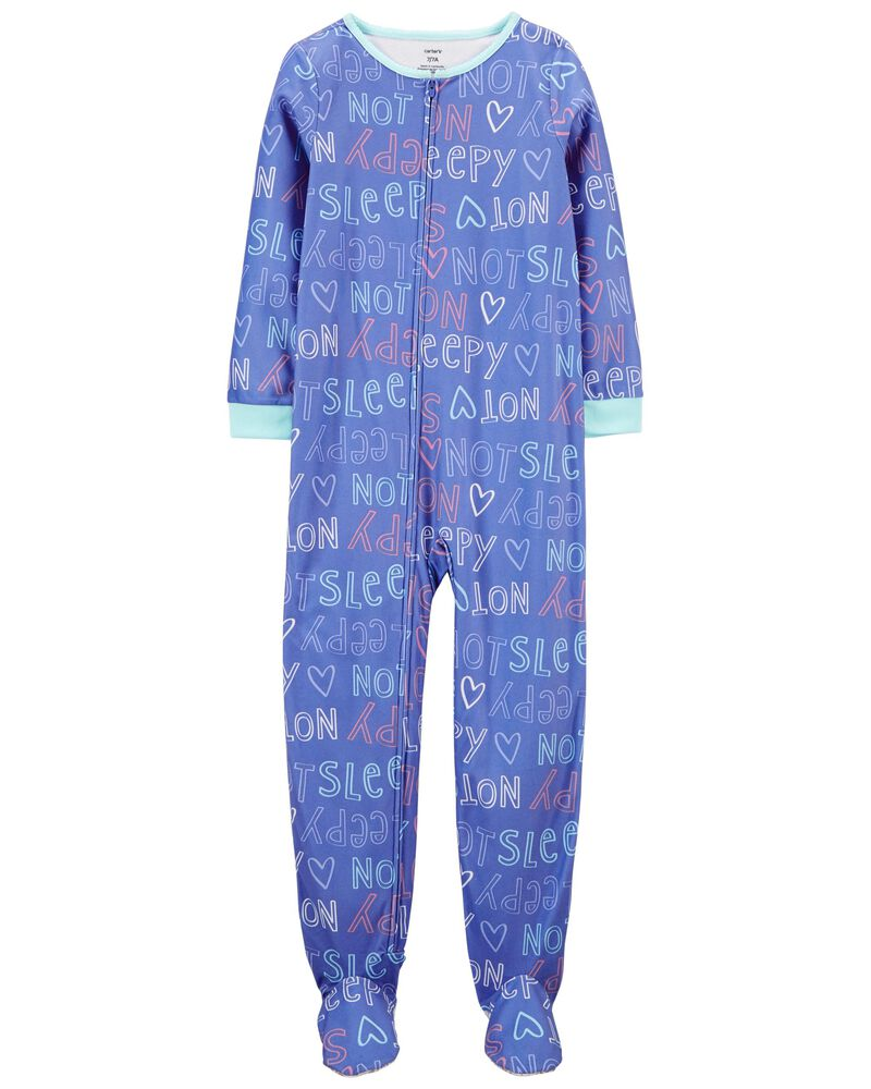 1-Piece Not Sleepy Fleece Footie PJs, , hi-res