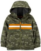 Veste à rayures camouflage doublée de molleton, , hi-res