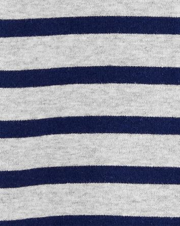 Striped 2-Way Zip Cotton Footed Sle...