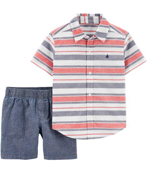 Ensemble 2 pièces chemise boutonnée et short en chambray