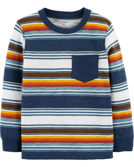 Striped Slub Jersey Pocket Tee