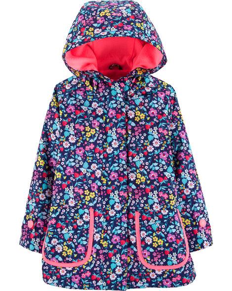 Fleece-Lined Floral Rain Jacket