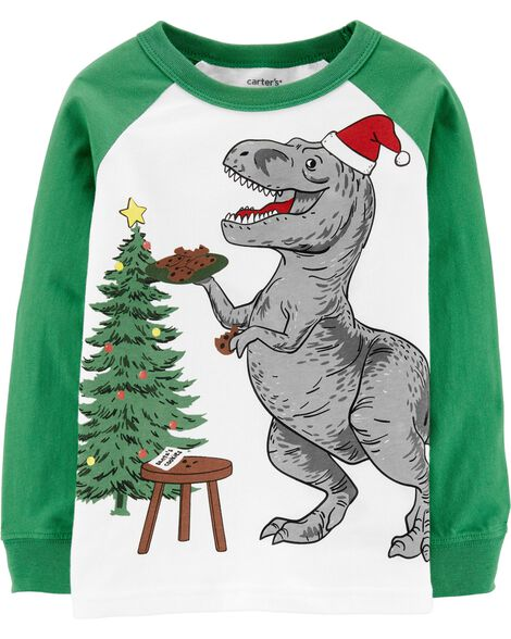 T-shirt à manches raglan tyrannosaure des Fêtes