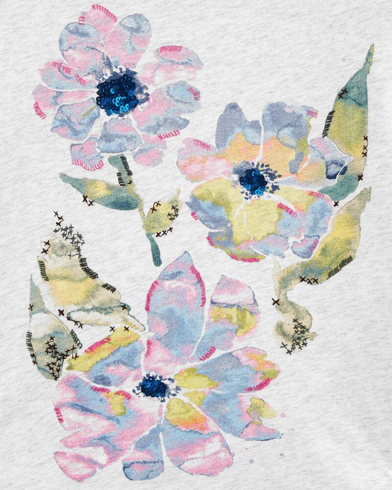 T-shirt à fleurs à l'aquarelle, , hi-res