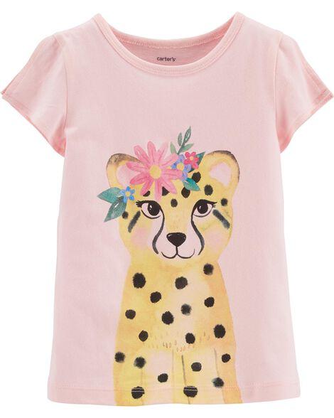 T-shirt en jersey fleuri à ouverture sur les épaules et léopard