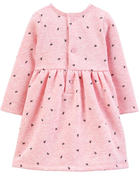 Bow Printed Fleece Holiday Dress