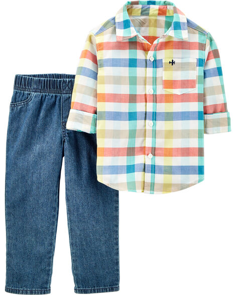 Ensemble 2 pièces chemise boutonnée à motif écossais et pantalon en sergé de denim