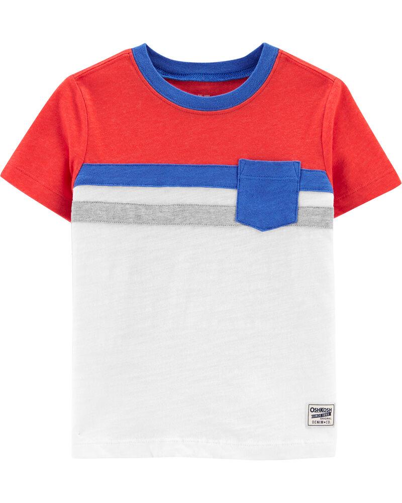 T-shirt à poche de poitrine et rayures, , hi-res