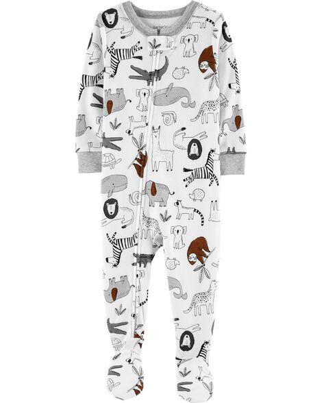 1-Piece Animals Snug Fit Cotton Footie PJs