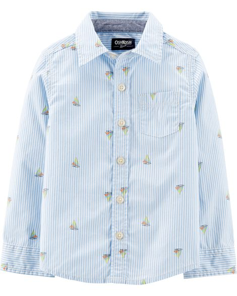 Sailboat Button-Front Shirt