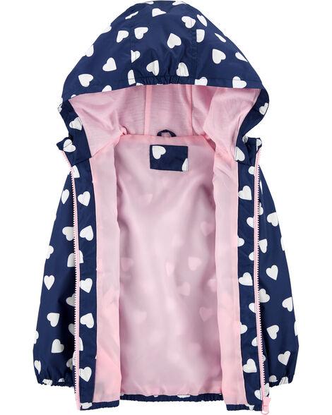 Heart Print Windbreaker Jacket