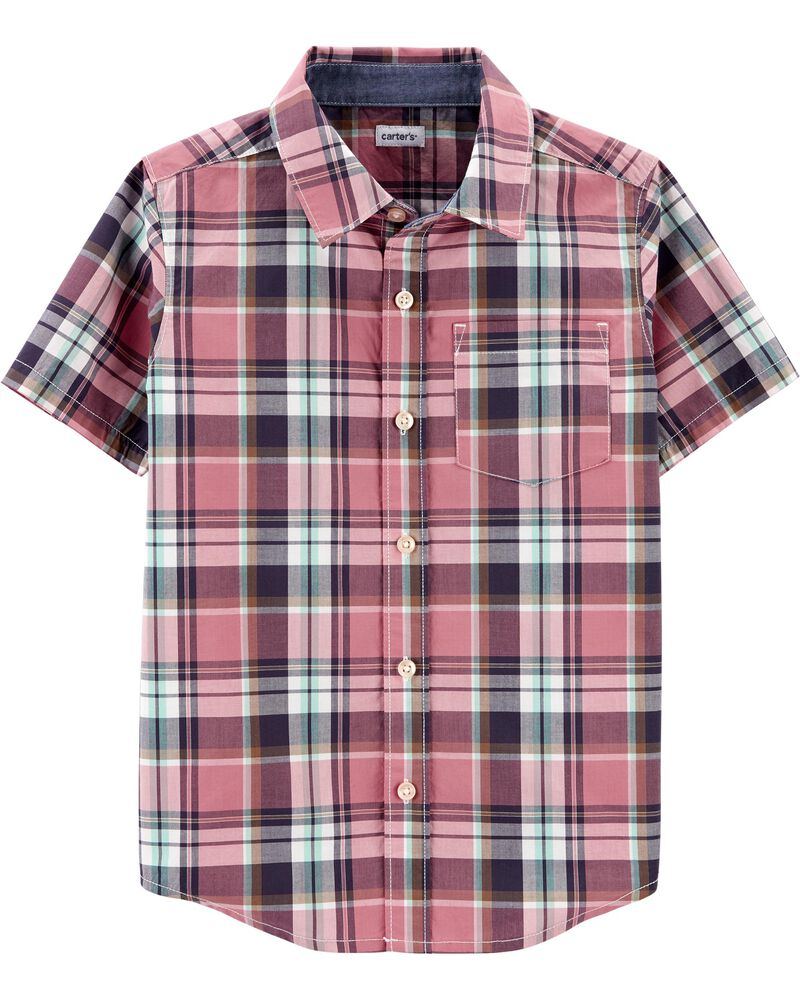 Chemise boutonnée à motif écossais, , hi-res