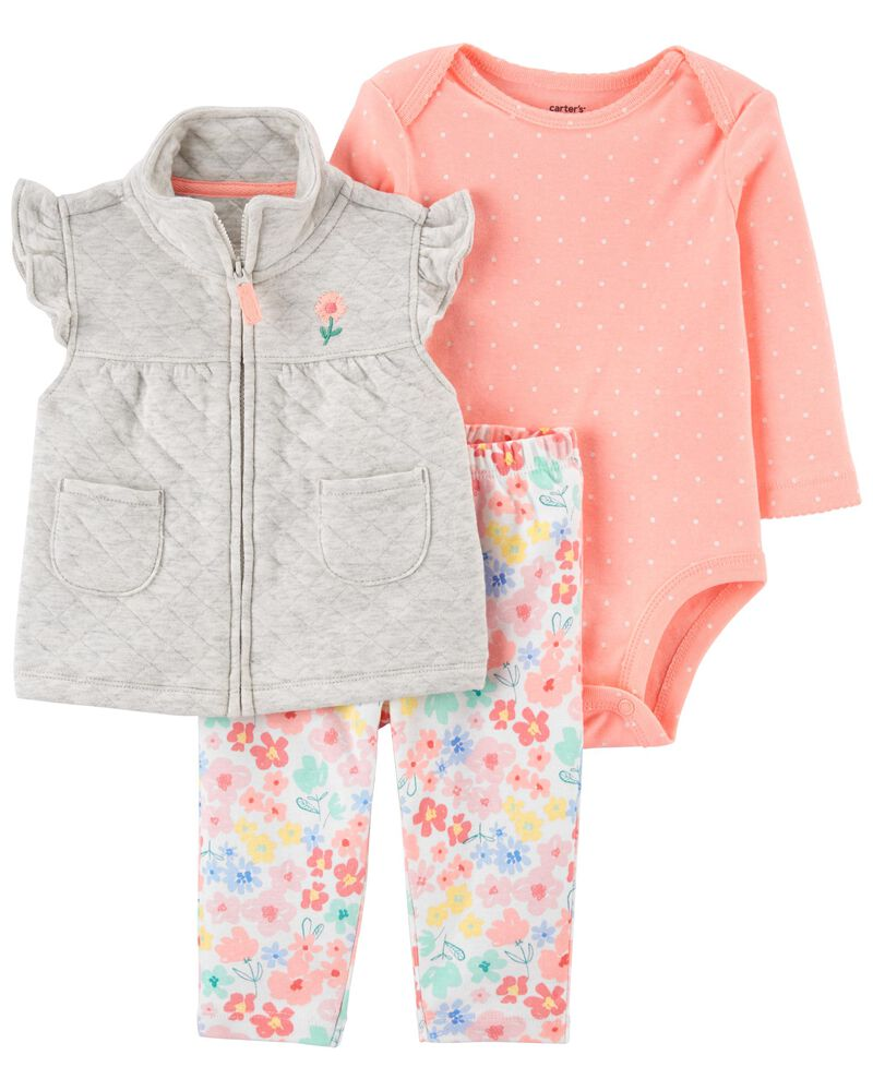 3-Piece Quilted Little Vest Set, , hi-res