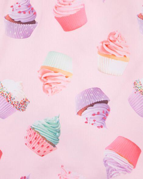 Robe de nuit en satin à motif de cupcake