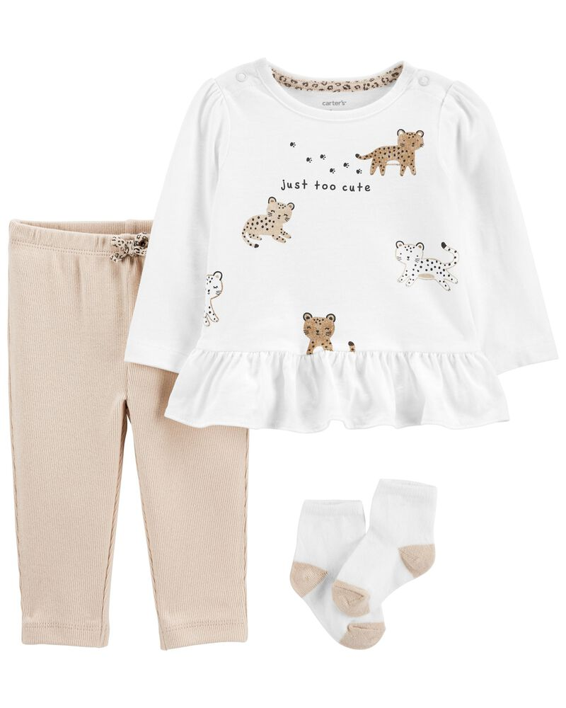 3-Piece Leopard Peplum Top & Pant Set, , hi-res