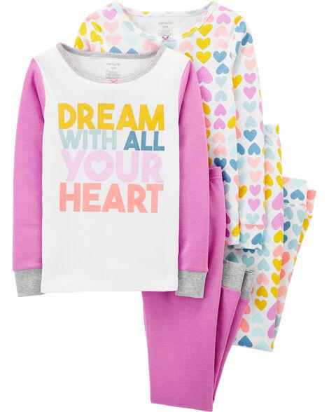 4-Piece Heart Snug Fit Cotton PJs