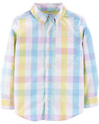Plaid Button-Front Poplin Shirt, , hi-res
