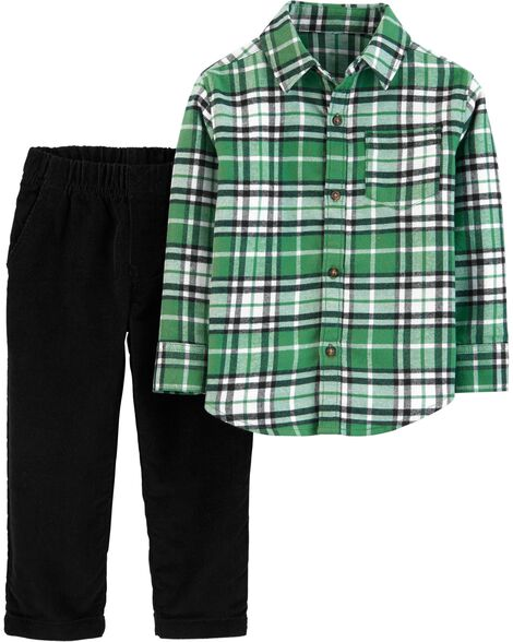 Ensemble 2 pièces chemise boutonnée à motif écossais et pantalon en velours côtelé