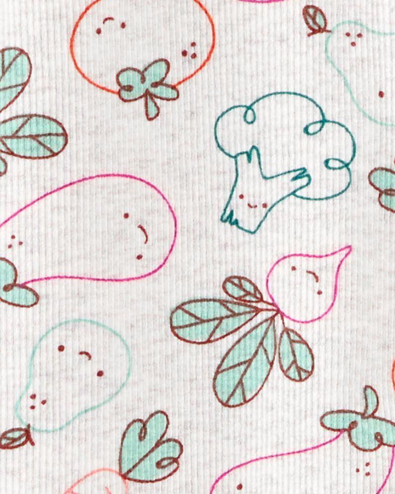 Grenouillère en coton pour dormir et jouer avec glissière 2 sens veggies, , hi-res