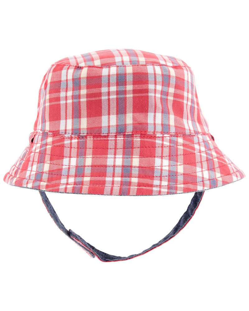 Reversible Plaid Chambray Bucket Hat, , hi-res