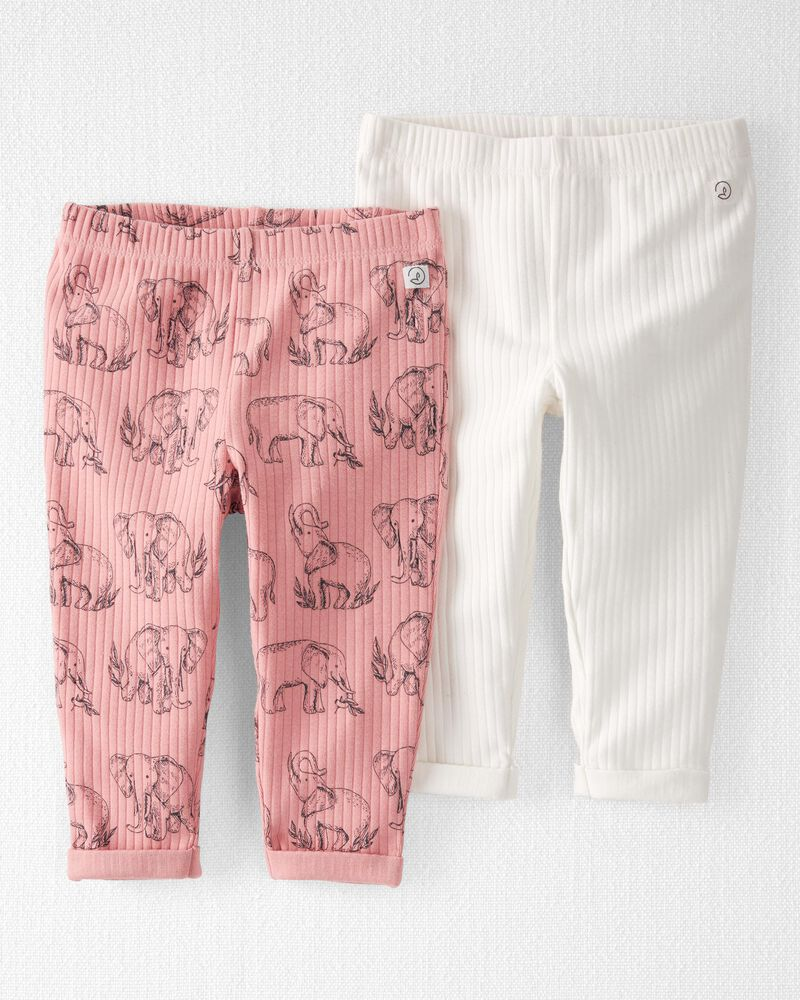 2-Pack Organic Cotton Rib Pants, , hi-res