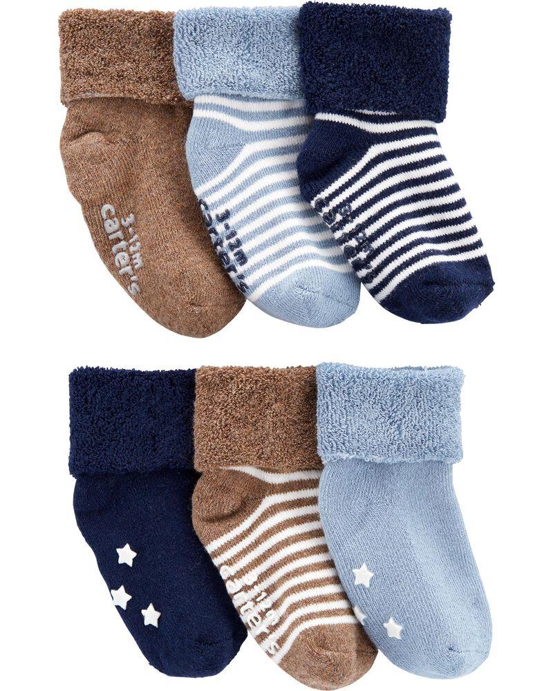 6 paires de chaussons rayés, , hi-res