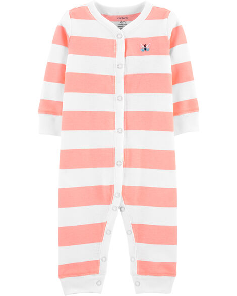 Striped Snap-Up Cotton Footless Sleep & Play