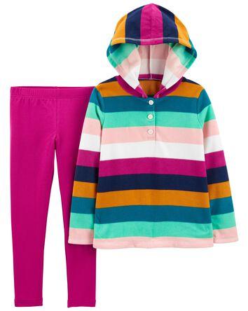 3-Piece Striped Fleece Hoodie & Leg...