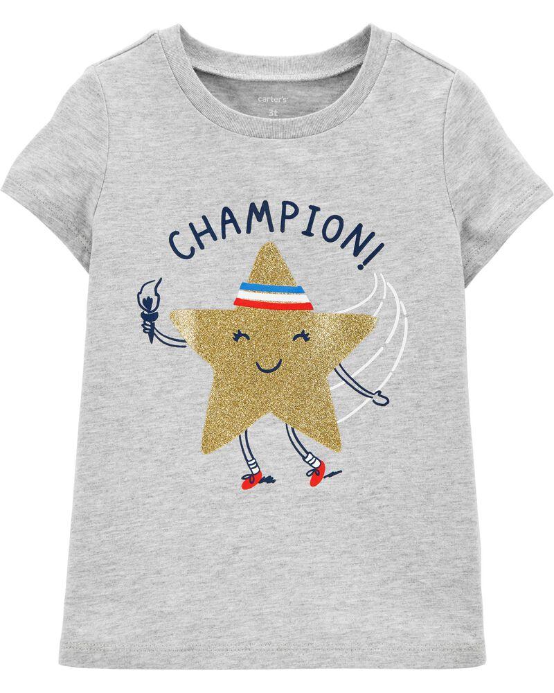 T-shirt en jersey scintillant olympique, , hi-res