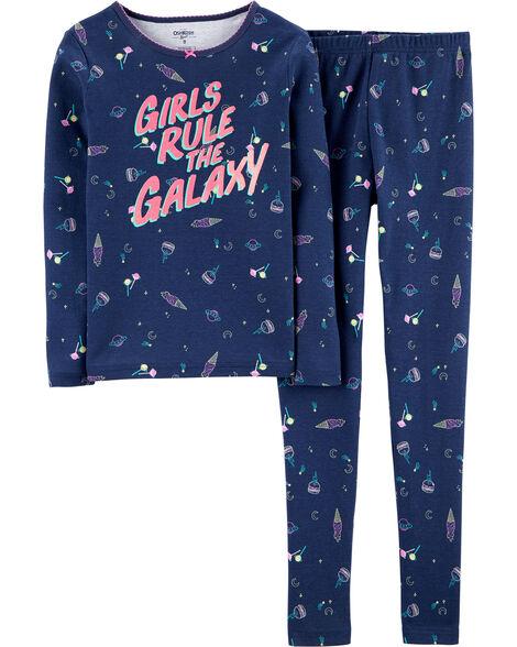 Pyjamas 2 pièces en coton ajusté galaxie