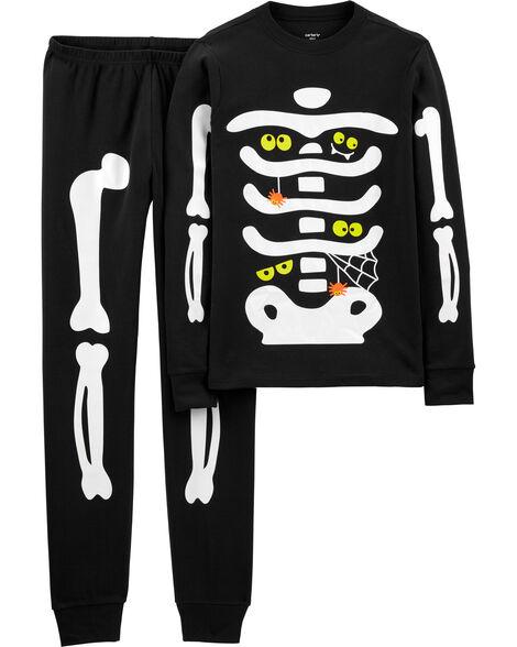 Pyjama 2 pièces à squelette d'Halloween en coton ajusté pour adulte