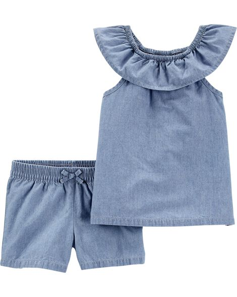 2-Piece Chambray Top & Short Set