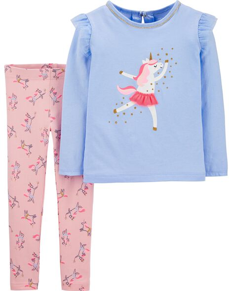 Ensemble 2 pièces haut en jersey à licorne et legging extensible
